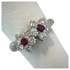 Gorgeous! Toi et moi Platinum Diamond and Ruby Ring Size 4-3/4