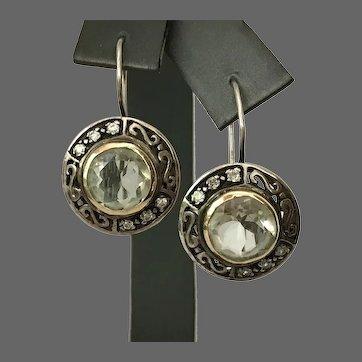 14K YG/Sterling Silver Gemstone and CZ Kidney Wire Earrings