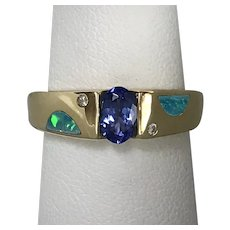Contemporary 14K YG Tanzanite, Diamond and Opal Inlay Ring Size 6-1/4