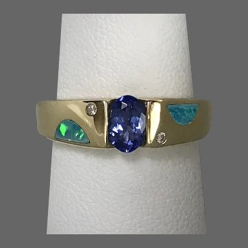 Contemporary 14K YG Tanzanite, Diamond and Opal Inlay Ring Size 6-1/4