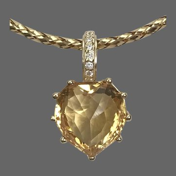 9.8 CT Citrine Gemstone Pendant with Diamonds