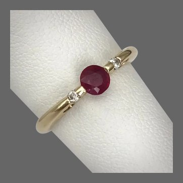 Lovely! 14K YG Tension Mounted Ruby and Diamond Ring Size 7