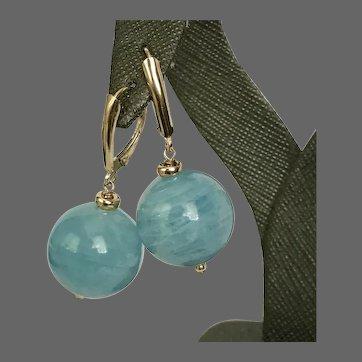 14K YG 6MM Blue Lace Agate Orb Drop Earrings