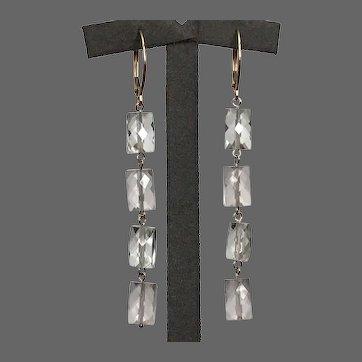 10K YG Checkerboard Faceted Rock Crystal Quartz Dangle Earrings