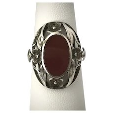 Handmade Art Deco Sterling Silver Carnelian and Floral Ring Size 6-3/4