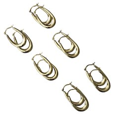 3/4-Inch New Old Stock 10K YG Hoop Earrings