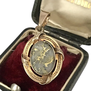 Early Victorian 14K Gold in Quartz Pendant