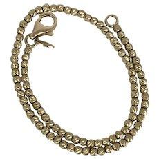 Italian 14K YG Diamond Cut Gold Bead Bracelet 7.5 Inches