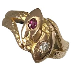 14K Rose Gold Russian Double Head Snakes with Diamond and Ruby Ring Size 9