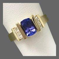 18K Tanzanite and Diamond Contemporary Ring Size 6-1/2