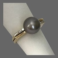 Modernist 14K YG Natural Black Tahitian Pearl and Diamond Ring Size 7-1/4