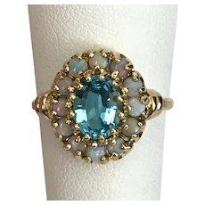 Striking Blue Topaz and Opal Ring 10K YG Size 7-1/2