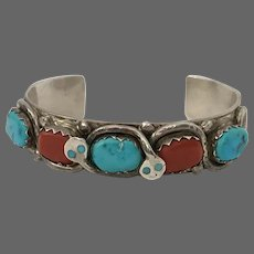 ZUNI EFFIE C. Coral and Turquoise Snake  Cuff/Bracelet