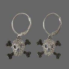 Skull and Crossbones Sterling Silver Diamond Dangle Earrings
