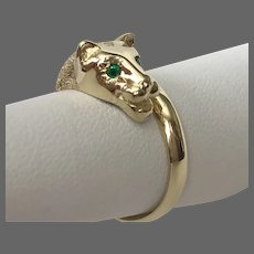 14K Beverly Hills Gold Panther Ring with Emerald Eyes Size 7.5