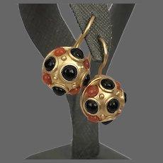 Carolee Gold Tone Orange and Black Drop Earrings