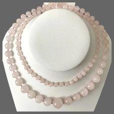 Long! 32-Inch Graduated Rose Quartz Beads Necklace