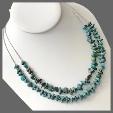 25-Inch Sterling Silver  Double Strand Turquoise Nugget Necklace