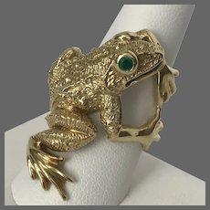 Fantastic! 21.9 Grams Solid 18K YG Emerald Frog $2,350.00