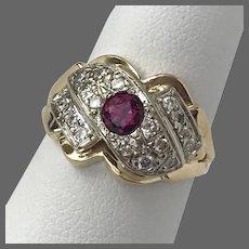 Estate 14K YG Ruby and Diamond Ring Size 6.5