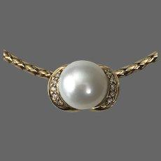 14K YG Button Pearl and Diamond Slide/Pendant