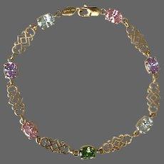 7.2 Grams 14K YG Tourmaline Gemstone Line Bracelet 7-3/8 Inch