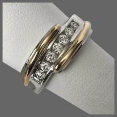 Gents 10.6 Grams 0.50CTTW 14K W&Y Gold Diamond Ring Size 9.75