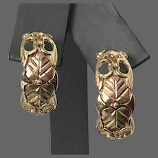 10K Black Hills Gold 2-Tone Leaf Motif Demi-Hoop Earrings