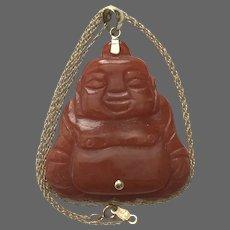 14K YG Red Jadeite Jade Buddha Pendant with Chain