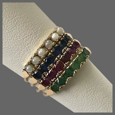 Art Deco 14K Rose Gold Precious Gemstone Harem Ring Size 7-3/4