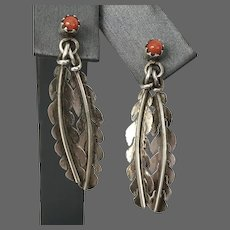 Coral & Feather Sterling Silver 1-1/4 Inch Sterling Silver