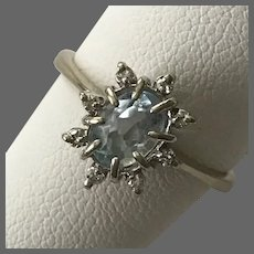 Lovely 14K WG Aquamarine and Diamond Ring Size 7