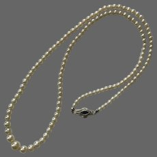 Art Deco 14K WG Graduated Strand Faux Pearl Necklace with Simulated Sapphire