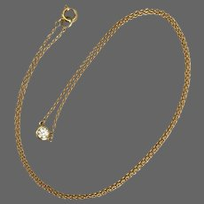 Lovely 14K YG Solitaire Diamond Necklace
