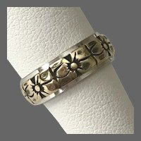 14K White & Yellow Floral Gold Band Ring Size 5-3/4
