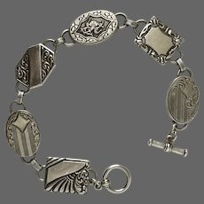 Art Deco Sterling Silver Panel Bracelet 7-3/4 Inches