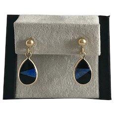 Estate 14K YG Lapis Lazuli and Black Onyx Dangle Earrings