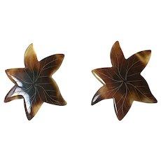 Early Faux Tortoise Shell Sterling Silver Earrings