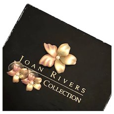 Joan Rivers Demi-Parure Enameled Forget Me Not Earrings and Brooch