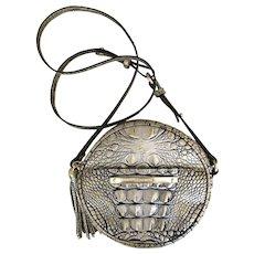 Retired Brahmin Gold & Black CROCO Embossed Leather Crossbody Shoulder Bag