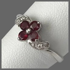14K White Gold Facet Cut Ruby and Diamond Flower Ring Size 8
