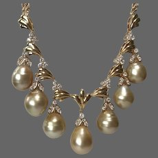 Gorgeous 18K YG Golden South Sea Semi-Baroque Cultured Pearl and Diamond Drop Drop Necklace