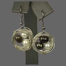 Wire Bird Nest and Pearl Earrings