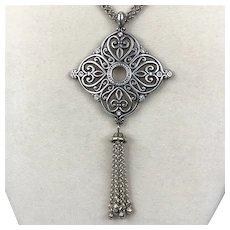 Vintage Brighton Swarovski Crystal Necklace with Tassel