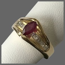14K YG Tension Mounted Marquise Cut Ruby and Diamond Ring Size 6-1/2