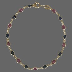 Vintage 14K YG Pink and Blue Sapphire Gemstone Bracelet 7-Inches
