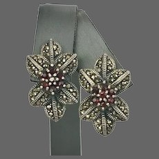 Mid-Century Sterling Silver Garnet and Marcasite Earrings