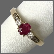 Full of Romance! 14K YG 3-Stone Ruby and Diamond Ring Size 5-1/4