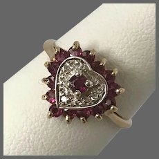 Vintage Ruby and Diamond Heart Ring 10K YG Size 6