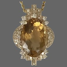12 Grams 11.30 CT Golden Citrine and 1.00 CTTW Diamond Pendant 14K YG with 20-Inch 14K YG Gold Chain